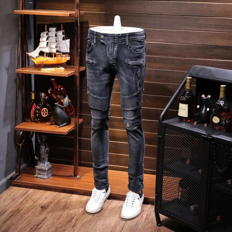 Ozhouzhan Autumn And Winter New Style Casual Locomotive Greyish Black Casual Elasticity Jeans Men's Pressure Zou Motorcycle Long