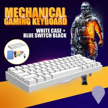 цена на 60% Mechanical Keyboard Bluetooth 4.0 Type-C RGB 61 Keys Mechanical Gaming Keyboard Kailh Box Switch