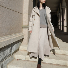 Autumn New-style Wool-coat Check-stitching Simple Hand-operated Double-face Cashmere Coat-coat 2019 Long Plaid Coat Women