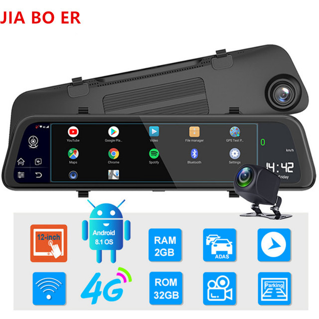 "12"" 4G Touch Screen Car Dash Camera Recorder Rearview DVR Mirror Full HD 1080P Android 8.1 Wifi GPS Navigation Mirror Video Cam 5"