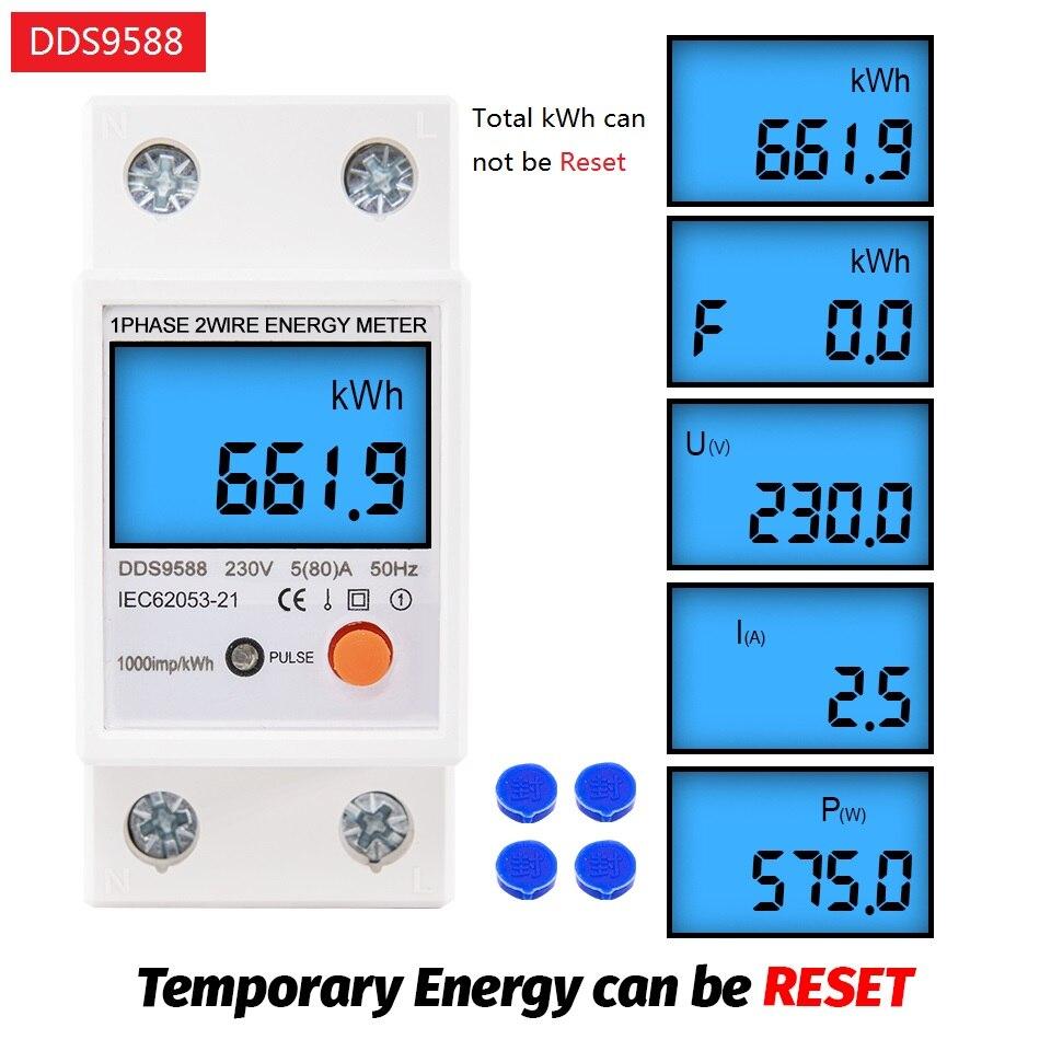 Однофазный счетчик энергии кВтч на Din-рейку с ЖК-дисплеем и цифровой подсветкой, измеритель потребления электроэнергии, ваттметр с электрон...