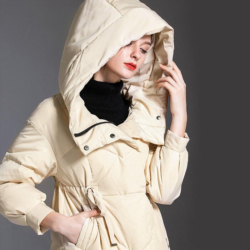 Shuchan 2019 Thick Designer Women   Down     Coat   2019 High Quality 90% White Duck   Down   Warm High Waist   Down   Jacket Woman Hooded