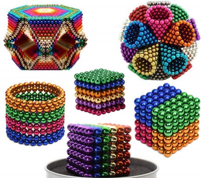 Magnetic Balls - Classic Colorful Set Of 216 (3mm) - Fun Stress Relief Desk Toy For Adults - Mashable Smashable Buildable
