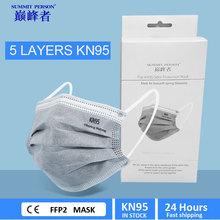 20 sztuk KN95 5 warstw szary maska węgiel aktywny maska KN95Mask bezpieczeństwa maska ochronna pyłoszczelna wielokrotnego użytku FFP2 FFP3 tanie tanio POWECOM Chin kontynentalnych GB2626-2006 Włókniny KN95 KN95MASK FPP2 FPP3