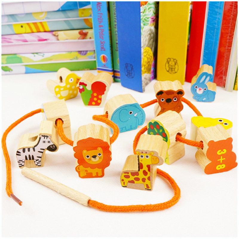 Preschool Fine Motor Skills Toys Lacing & Stringing Wooden Beads Sea Pink Girls With String Packaged With Metal Box