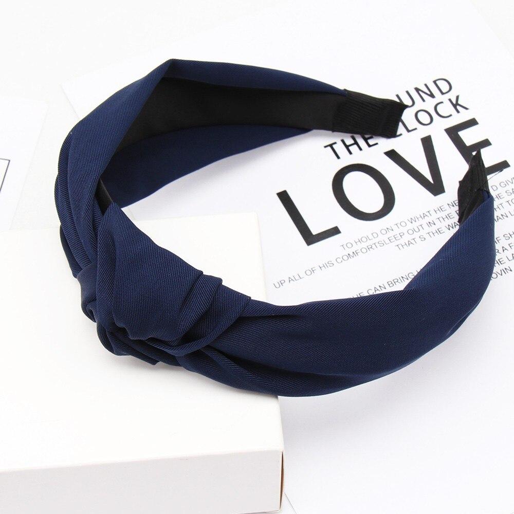 Couleur unie noeud bandeaux pour femmes Simple tissu filles bandeau femmes cheveux accessoires large côté bandeau 55