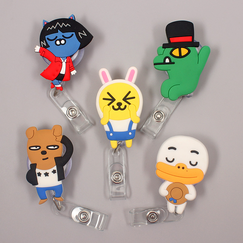 Cartoon Rabbit Cat Bear Dog  Retractable Badge Holder Reel Exhibition Enfermera Student Boy Name Card Hospital Office Chest Card