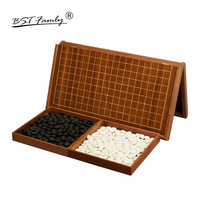 BSTFAMLY Go Chess 19 Road 361 Pcs/Set Chessman Diameter 2.2cm Wood Foldable Chessboard and Jar Chinese Old Game of Go Weiqi G15