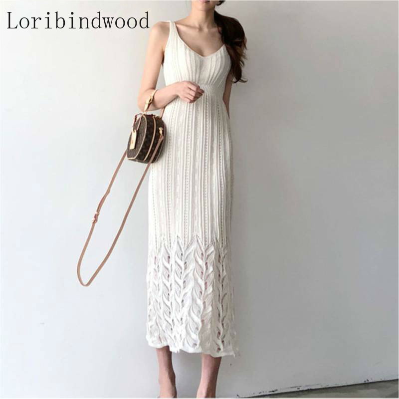 Women Sexy Deep V-neck Sleeveless Knitted Dress 2020 Summer Fashion Hollow Out Lace Party Dress Casual Sling  Dress