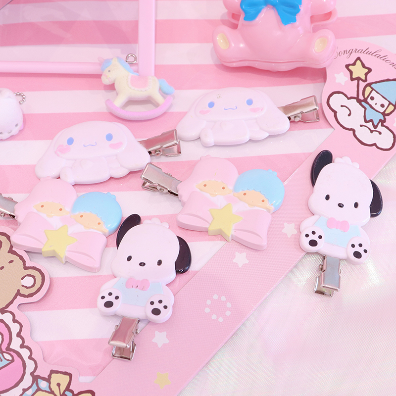 1PC Lovely Japan Anime Cinnamoroll PC Twins Stars Hairpins Hair Clip For Girls Gifts