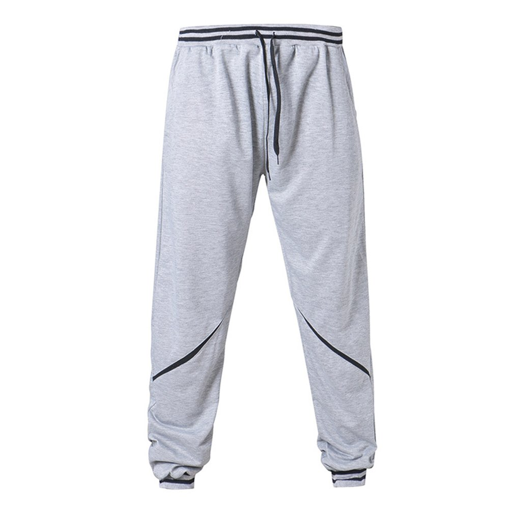 Spring Autumn Sports Causal Men Long Pants Solid Black Gray Color Loose Straight Pants Breathable Lightweight Sweatpants For Men