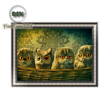 FineTime Cute Owls 5D DIY Diamond Painting Partial Drill Diamond Embroidery Cross Stitch Animals Mosaic Painting finetime animals owls dogs cats 5d diy diamond painting partial round drill diamond embroidery cross stitch