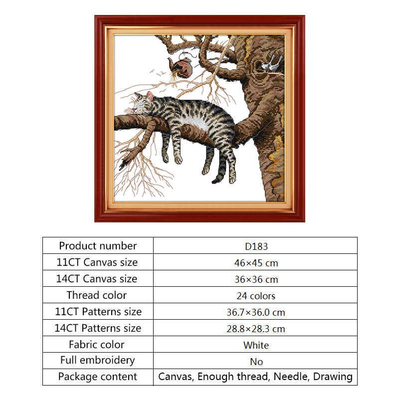 EINE Faule Katze DIY Handwerk Kreuz Stich Paket Hand Stickerei Muster 14ct 11ct Zählen Druck Leinwand Home Decor Stickerei Kit