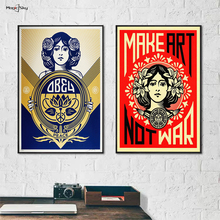 Classic Make Art Not War Retro Posters OBEY Shepard Fairey Vintage Canvas Painting Print Wall Art Pictures for Living Room Decor