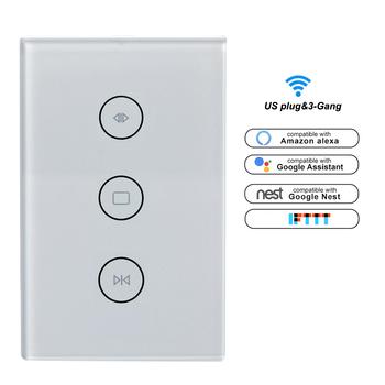 Sterowanie głosem WiFi inteligentny przełącznik kurtyny na elektryczny zmotoryzowany rolety rolety działa z Alexa i Google Home tanie i dobre opinie 110-240 v Smart Curtain Switch