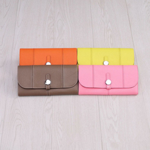 Genuine Leather Cow Women Long Purse Round Button Coin Pocket