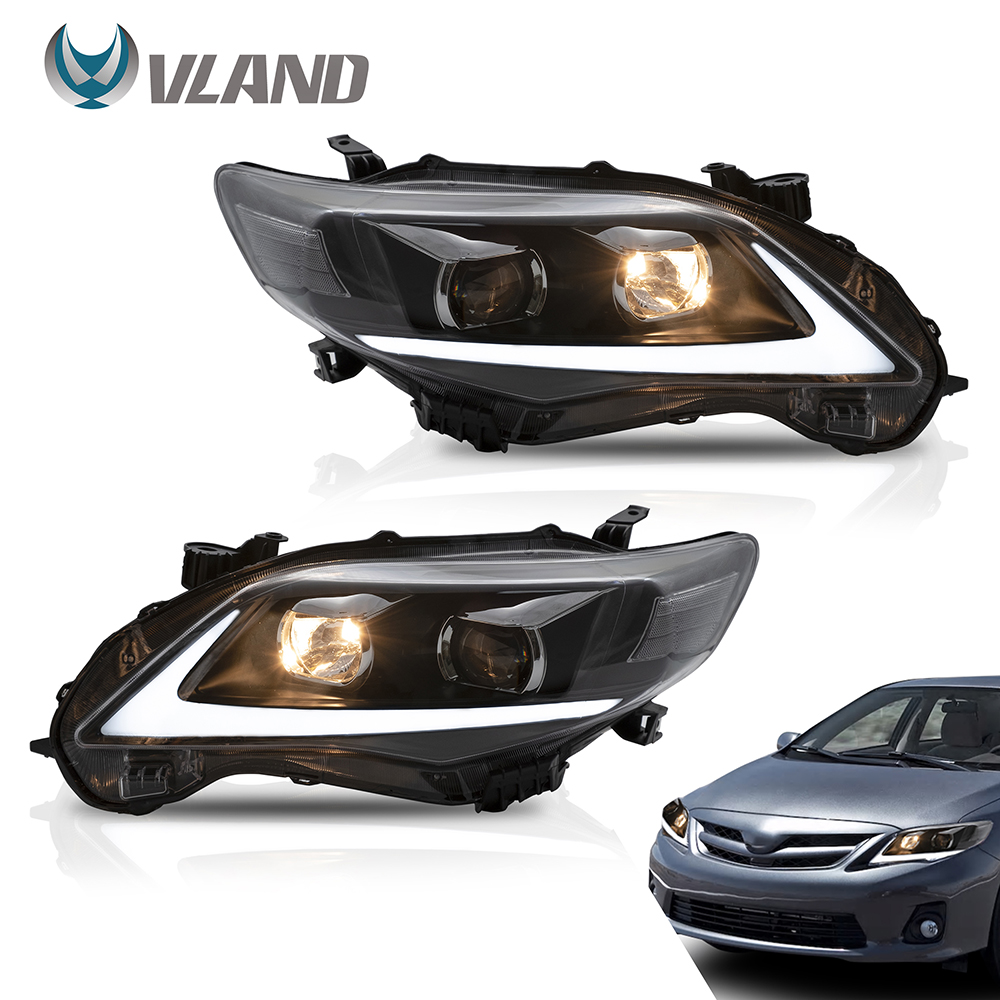 VLAND Headlamp Car Assembly Fit For Toyota COROLLA 2011 2012 2013 Headlight Full LED Headlamp With DRL Turn Signal Light