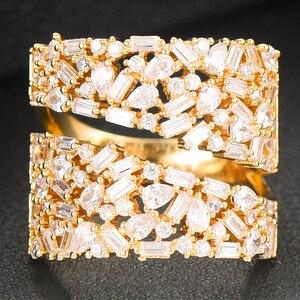 Image 5 - GODKI anneaux de déclaration en gras pour femmes, bijoux de luxe, bijoux pour fêtes de fiançailles de haute qualité, avec pierres en zircone, collection 2020