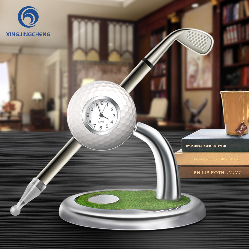 Mini Desktop Golf Ball Pen Stand With Golf Pens 2-Piece Set Of Golf Souvenir Tour Souvenir Novelty Gift