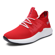 Spring Autumn Popular Fashion Casual Shoes For Men Breathable Male Sneakers Adult Lace Up Comfortable Footwear Red E0106
