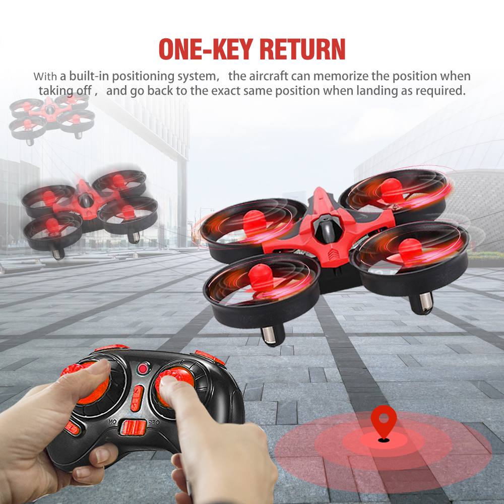 Mini 2.4G 4-Wheel RC Quadcopter Helicopter Transmitter 6 Axis LED Light RTF Remote Control Drone One-key Return Aircraft