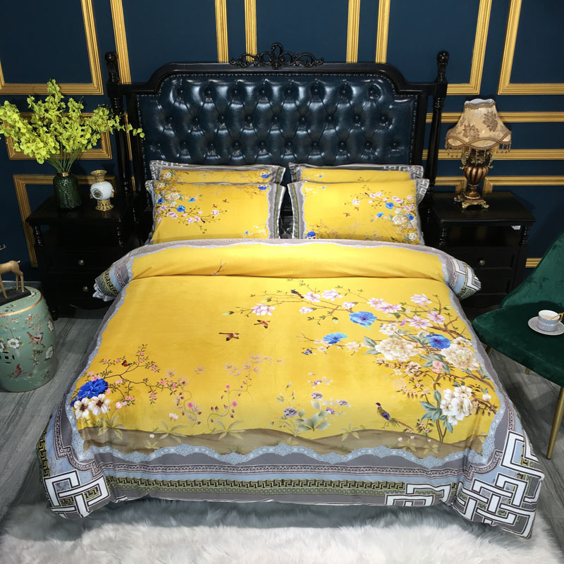 Luxury Chinese Style Flowers Peacock Printing Winter Fleece Fabric Bedding set Flannel Duvet cover Bed Sheet/Linen Pillowcases(China)
