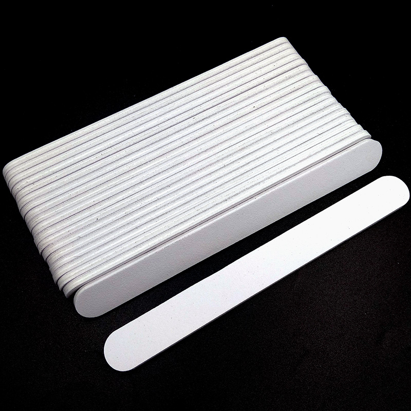 5/10pcs Nailfile Professional Nail Buffer 100/180 White Sandpaper Buffing Sanding Files Lime Angle Straight Round Head