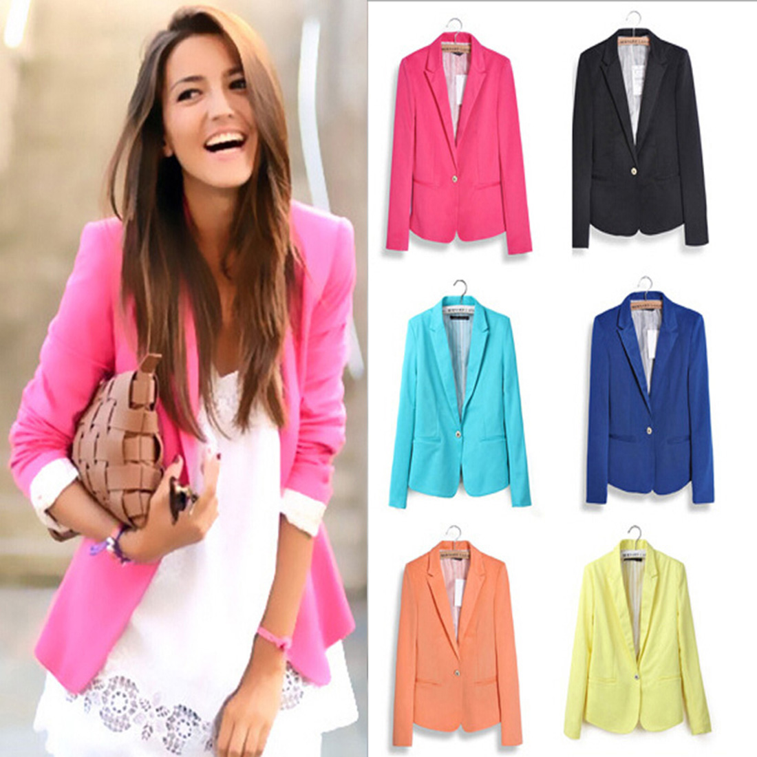 Ladies Blazer Jacket Women Suit Long-Sleeve Pink Female Blue Autumn Yellow Hot-Sale Feminine title=