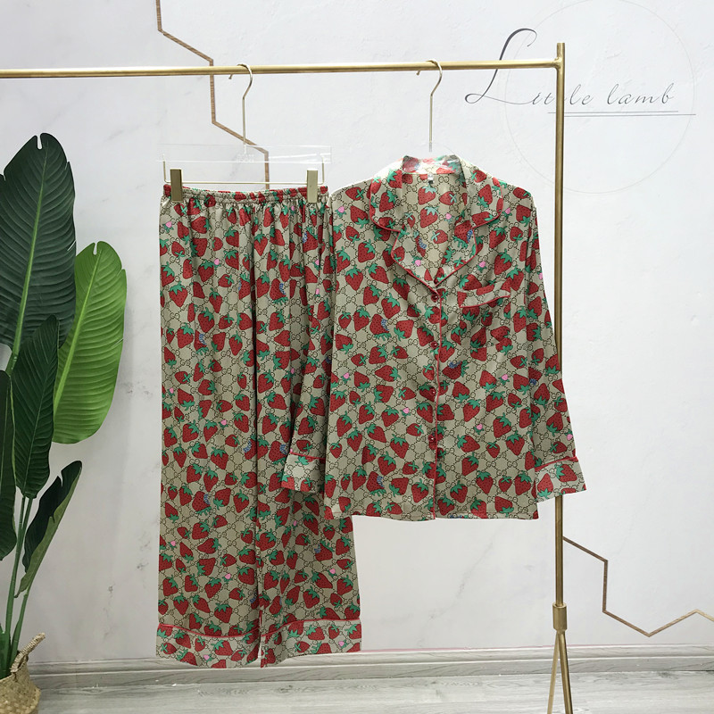 Spring and autumn long sleeved pajamas ice silk strawberry print lapel home wear Korean print lady cardigan pajamas|Pajama Sets| - AliExpress