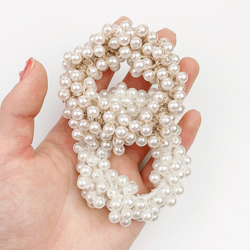 New Women Girls Elegant Colorful All Pearls Elastic Hair Bands Sweet Ornament Headband Scrunchie Fashion Accessories