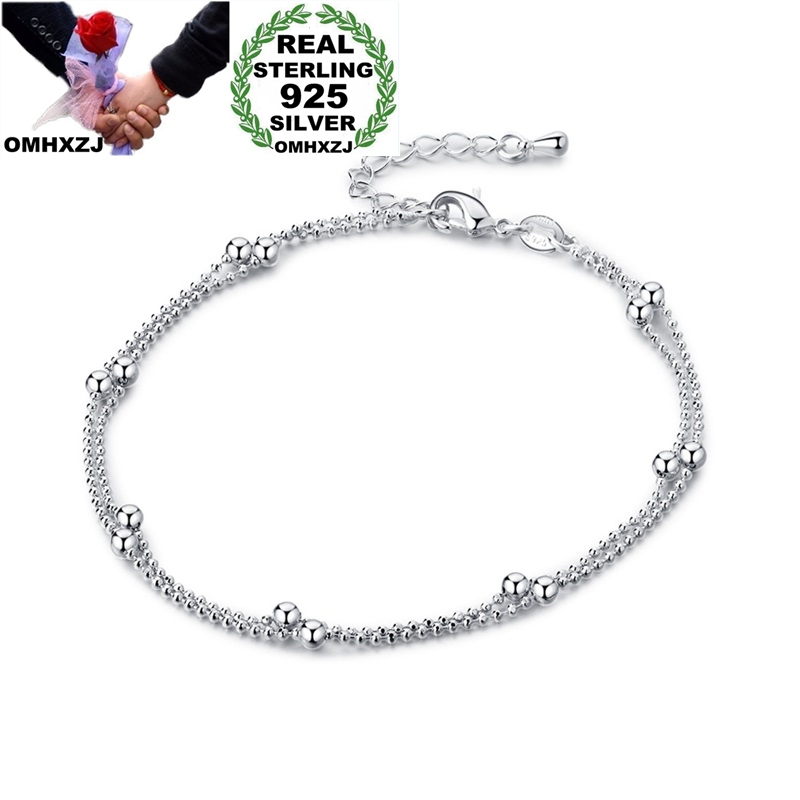OMHXZJ Wholesale European Fashion Woman Girl Party Birthday Wedding Gift Sweet Beads Two Lines 925 Sterling Silver Anklet JL05