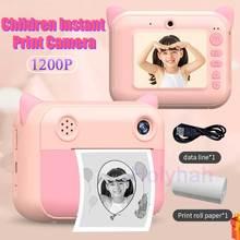 CP01 인스턴트 인쇄 어린이 카메라 디지털 열 사진 카메라 HD 1200P 비디오 Selfie 어린이 생일 선물 장난감 TF 카드