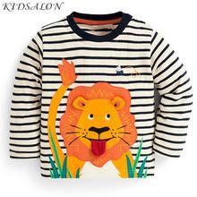 Kidsalon/Детские футболки для мальчиков, одежда топы для маленьких мальчиков, осень 2020, новая детская футболка хлопковые футболки для мальчиков с аппликацией в виде животных