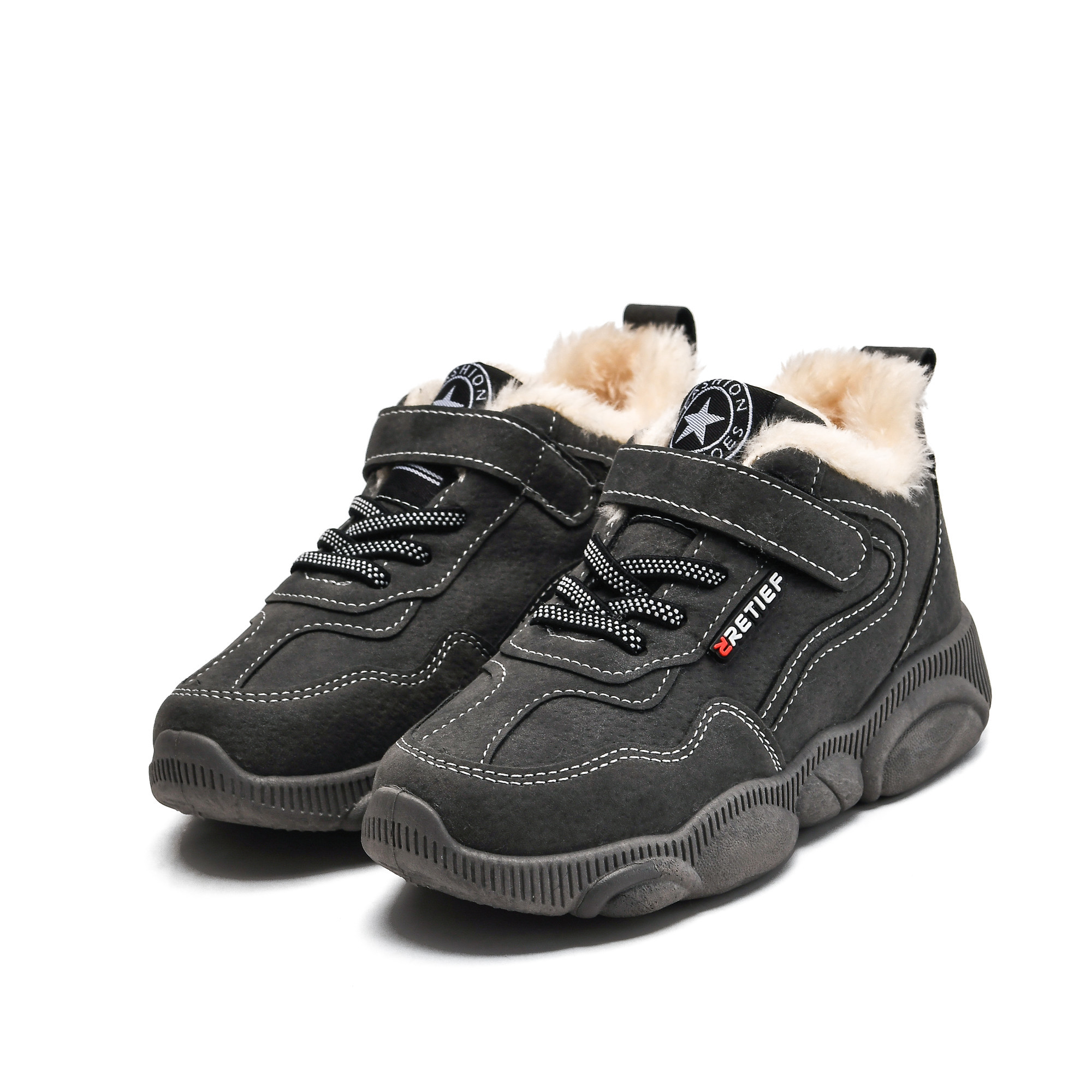 Winter Children Snow Boots Keep Warm Kids Shoes Boys Waterproof Non-slip Sports Shoes Girl Plush Thick Cotton-padded Short Boots