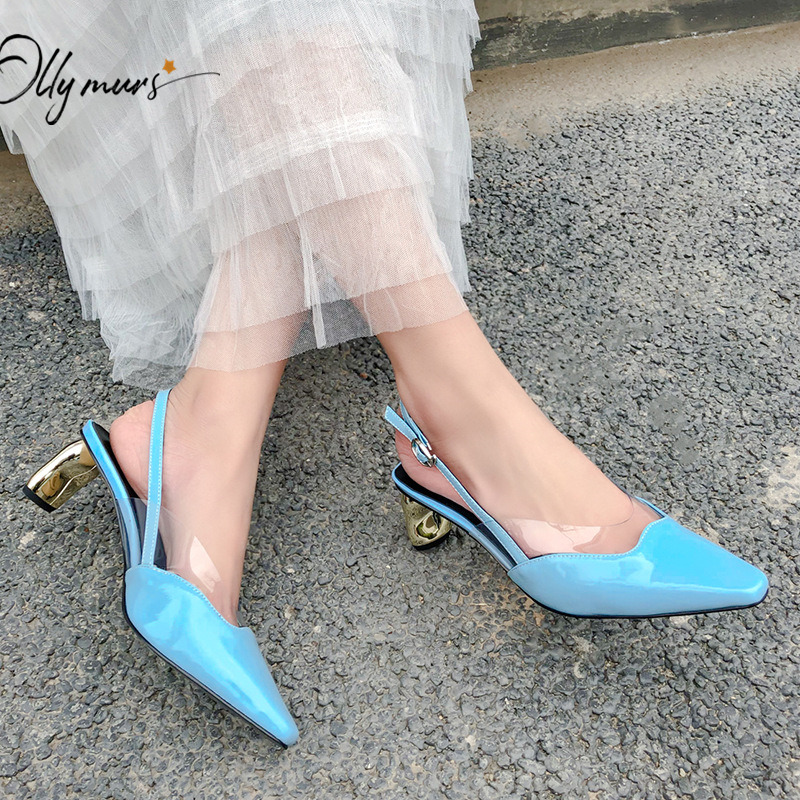 OllyMurs Fashion Black Blue Women Summer Sandals Pointed Toe Buckle Strap Thin Mid Heel Women Wedding Party Sandals Shoes Woman
