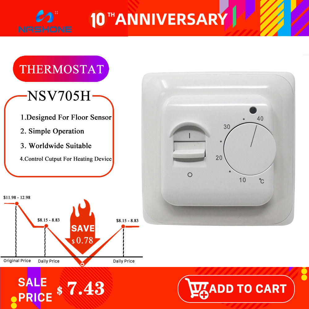 Nashone Manual Thermostat Temperature Controller 220V 230V 16A NTC Sensor Electric Floor Heating Room Thermostat Warm Regulator