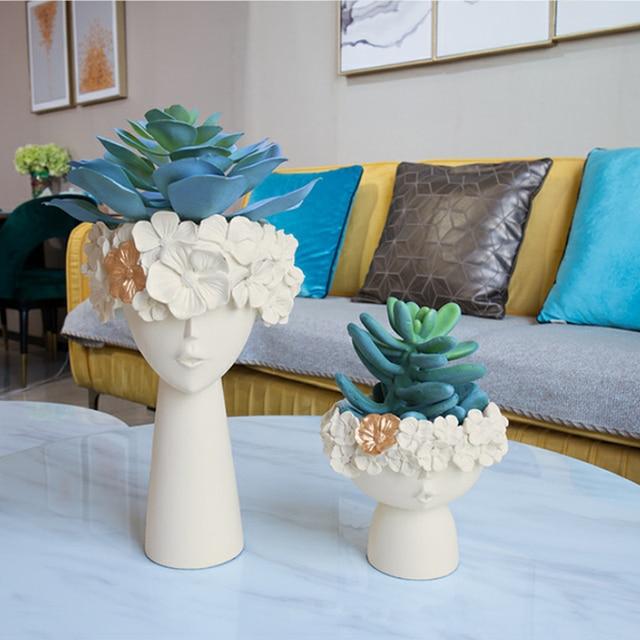 Nordic Home Decoration Resin Vase Statue Sculpture Makeup Brush Holder Storage Box Pen Holder Creative Flower Pot Art Supplies 4