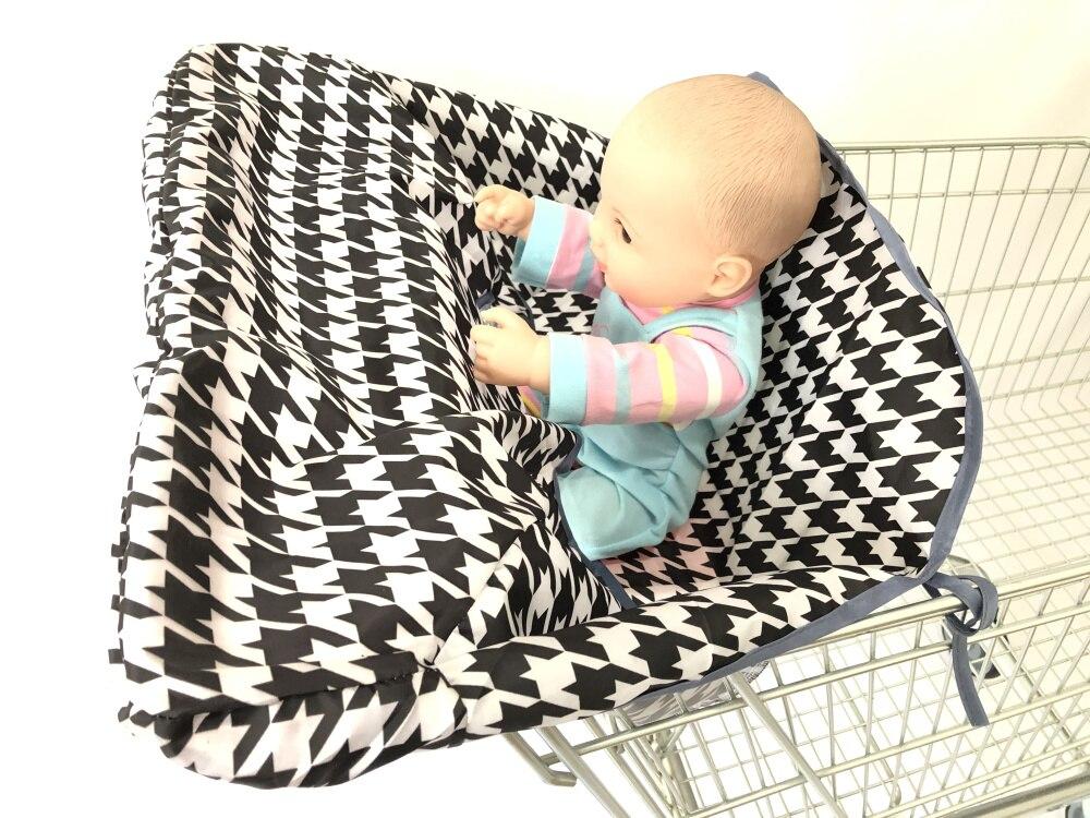 Младенческий супермаркет корзина для покупок, чехол для детского сиденья, анти-грязный чехол, детское сиденье для путешествий, подушка, не грязный, портативный - Цвет: Black and white
