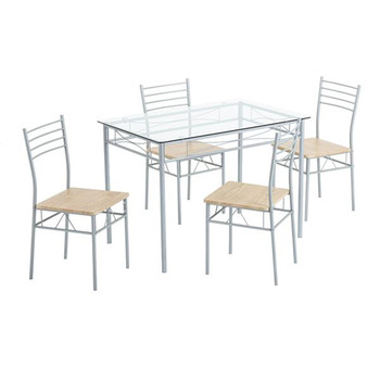 [110 x 70 x 76cm] Iron Glass Dining Table and Chairs Silver One Table and Four Chairs MDF Cushion Table For Living Room Kitchen