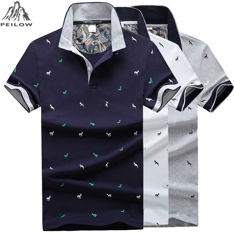 Mens Polo Shirts 2019 New Male Deer Print Cotton Polo Shirt Business Casual Camisa Stand Collar Men Clothes M-4XL
