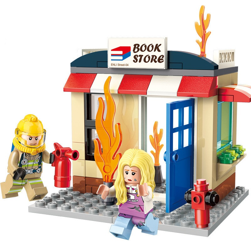 ENLIGHTEN <font><b>City</b></font> Police Firefighter <font><b>Fire</b></font> <font><b>Station</b></font> Bookstore firefighting Rescue Building Blocks Sets Kids Kits Toys Compatible image