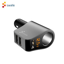 Swalle Snelle autolader 3 usb-poort 3.1A quick opladen met LED display Universele Mobiele Telefoon Auto-Oplader voor tabletten mobiele telefoon(China)