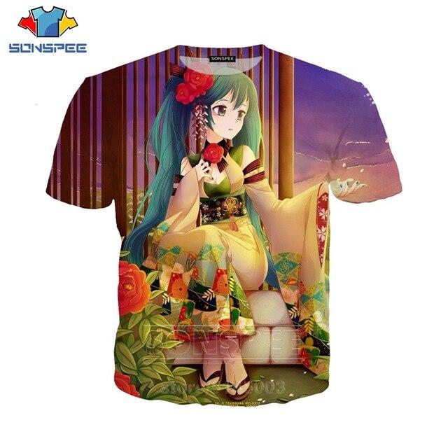 SONSPEE Men Women Singer Sweatshirt 3D Print Anime Girl Hatsune Miku T Shirt Short Sleeve Casual Street O Neck Top Pullover (11)