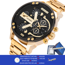 Cagarny Gold Relogio Masculino Men Watches Luxury Brand Men's Watch Dual Display Steel Military Quartz Wristwatch reloj hombre gimto watches men luxury brand clock reloj relogio masculino military quartz watch stainless steel men wristwatch reloj hombre