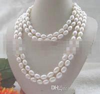 Free Shipping $ wholesale_jewelry_wig $ long filament 80 white baroque freshwater pearl necklace