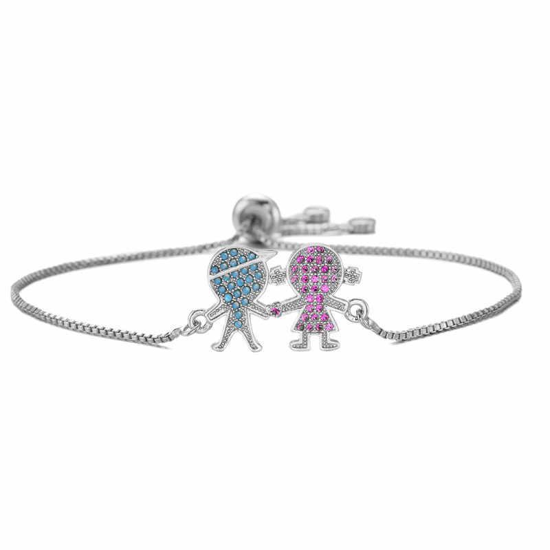 Newbuy Trendi Silver/Emas Warna Lucu Anak Laki-laki & Perempuan Pesona Gelang Micro Pave Bening Cubic Zirconia Wanita Pesta Perhiasan dropship