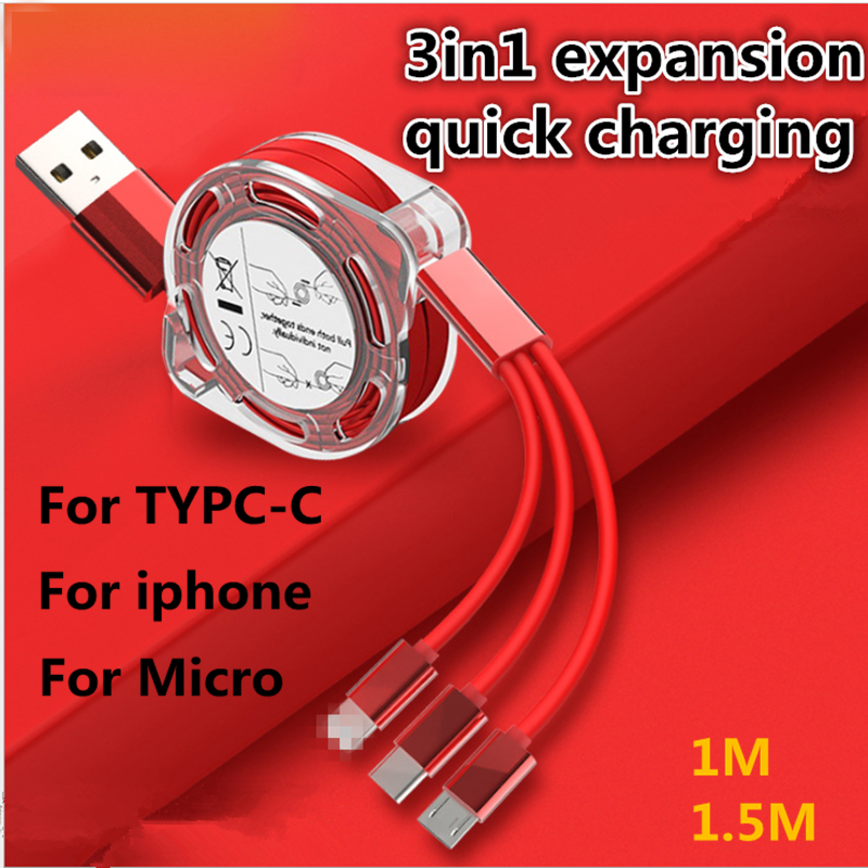 <font><b>3In1</b></font> Fast Charging Scalable <font><b>Cable</b></font> for Type C for Micro <font><b>USB</b></font> Fast Charger <font><b>Cable</b></font> For IPhone 11 For Android Samsung Mi image