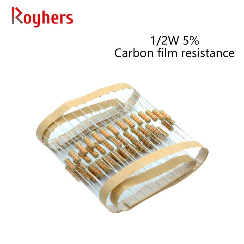Набор карбоновых пленочных резисторов 100 шт., 1/2 Вт, 0R-22M, погрешность 5% к, 2 м, 680 м, 6,8 м, 12 м, 15 м, 2 Ом, комплект для сборки электроники, 9,1 шт.