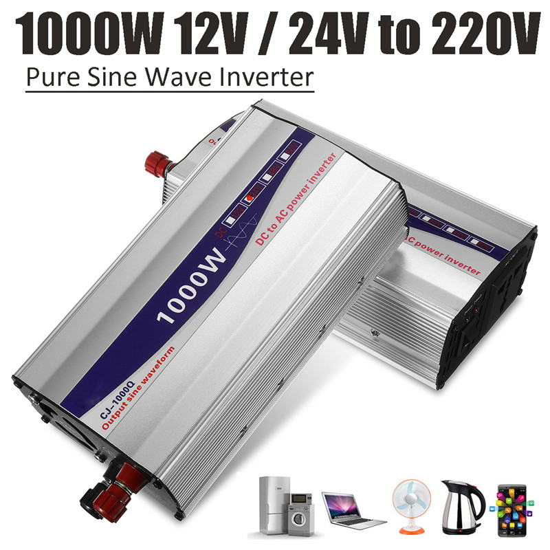 1Set LED Display 1000W Pure Sine Wave Power Inverter 12V/ 24V To 220V Converter Transformer Power Supply Inverter