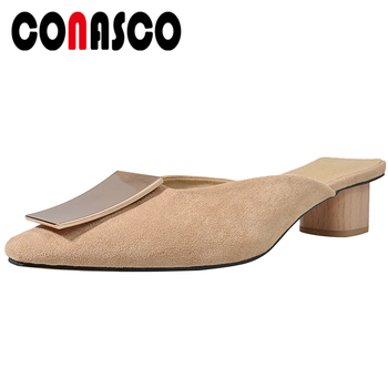 CONASCO Women Sandals Slippers 2020 Summer New Fashion Concise Elegant Kid Suede Metal Decoration Casual Thick Heels Shoes Woman